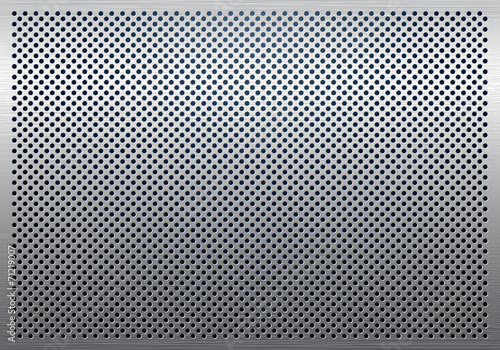 Fototapeta Gray metal background, perforated metal texture