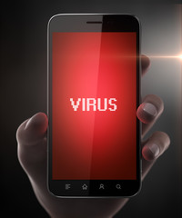 Blank smart phone with virus in woman hand