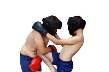 Preschooler kick in his stomach of his partner