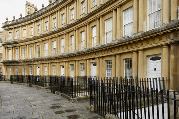 curved facades at the Circus crescent, Bath