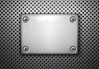 Vector rectangular metal plate with screws