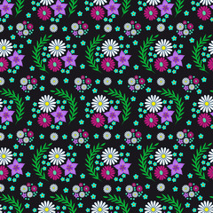 Flower seamless pattern on black background