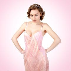 Pretty women in the pink dress.