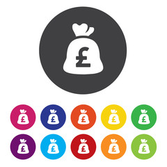pound Money bag sign icon. pound currency symbol
