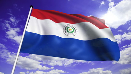 flag of Paraguay with fabric structure against a cloudy sky