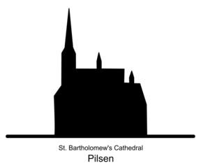 Silhouette of St. Bartholomews Cathedral in Pilsen illustration