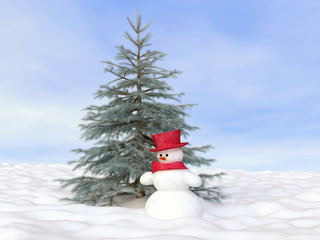 Winter Concept With Snowman And Pine Tree