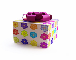 3D Gift Box with Flower Texture
