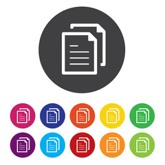 Copy file sign icon. Duplicate document symbol.