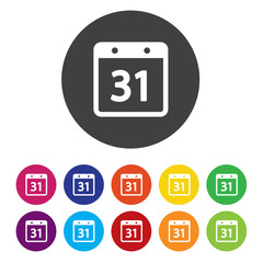 Calendar sign icon. 31 day month symbol. Date button.