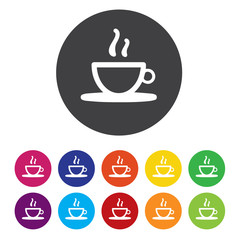 Coffee cup sign icon. Hot coffee button