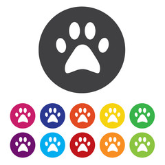 Dog paw with clutches sign icon. Pets symbol