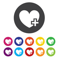 Heart sign icon. Add lover symbol. Plus love