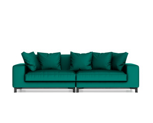 Isolated contemporary green sofa with cushions