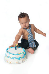 One Year Old Boy with Birthday Cake