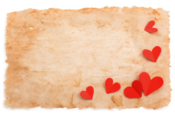 Ancient paper and hearts.
