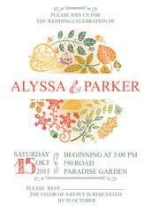 Vintage wedding  invitation with leaves
