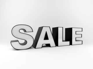 Big sale text 3d generated isolated on white background