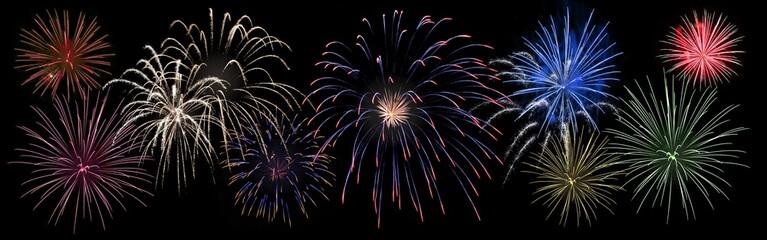 Bannière feux d'artifices tricolores