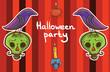 halloween vector background template with raven, pumpkin, skull,