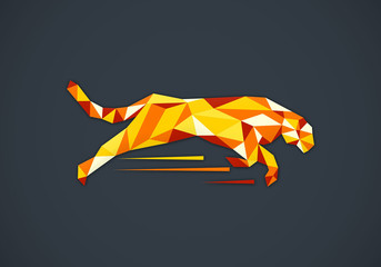 animal tiger abstract triangle vector logo