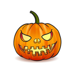 Illustration of Scary Jack O Halloween pumpkin  light inside