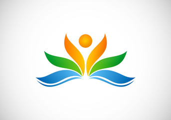 flower people ecology spa vector logo