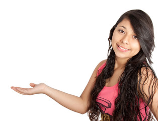 girl holding blank copy space