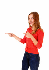 Woman pointing finger.