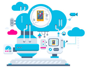 Vector industrial illustration background of the cloud technolog