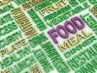3d imagen Food concept word cloud background