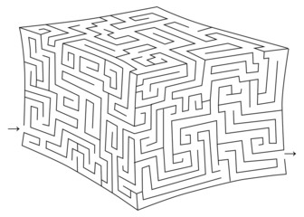 Vector 3d cube maze (labyrinth)
