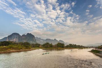 Boat Trip  in Nam Song river in Vang Vieng, Laos.