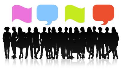 Blank speech bubbles, collage concept