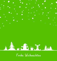 Weihnachten Lanschaft Schneefall grün