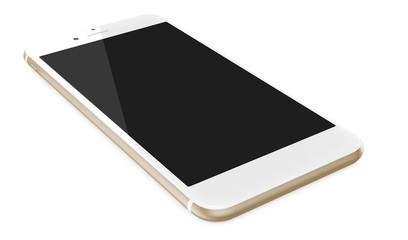Gold smartphone with blank screen