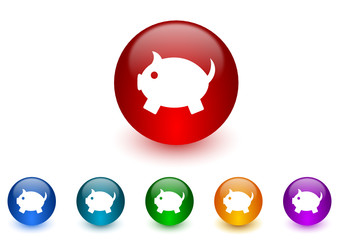 piggy bank vector icon colorful set