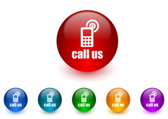 call us vector icon colorful set