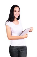 Asian women student with computer tablet isolated