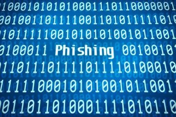 Binärcode mit dem Wort Phishing im Zentrum