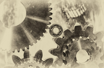 cogwheels and ball.bearings in old style effect
