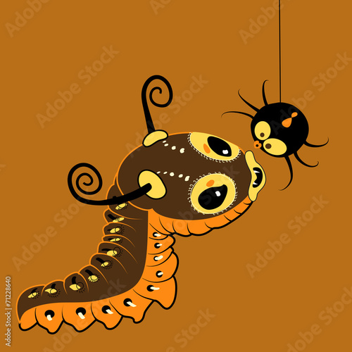 Monster-caterpillar with spider - 71228640