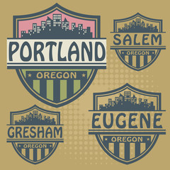 Label set with names of Oregon cities, vector
