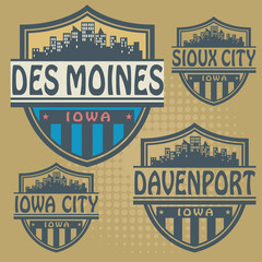 Label set with names of Iowa cities, vector
