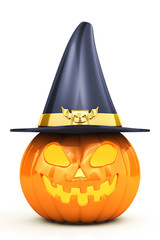Halloween pumpkin with hat isolated