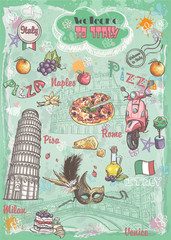 Italy, architecture, food, transportation, items