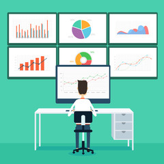 business  people analytics business graph and seo on monitor