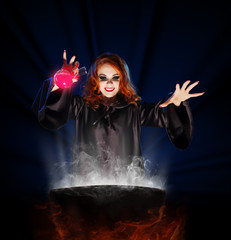 Witch with potion and cauldron on blue rays background
