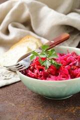 traditional Russian salad of beetroot and pickled cabbage