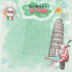 Italy. Colosseum, the Leaning Tower and pink moped